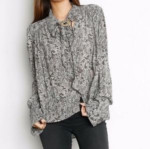 Free People | Gray Modern Muse Woven Blouse
